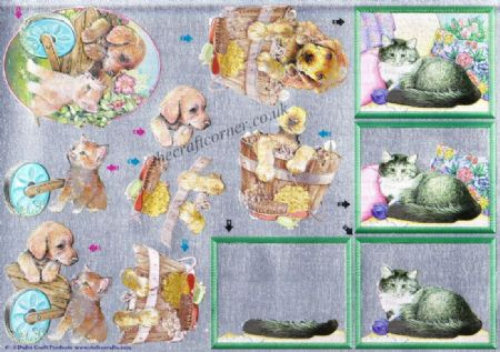 Adorable Kitten & Puppy 3d Decoupage Sheet From Dufex